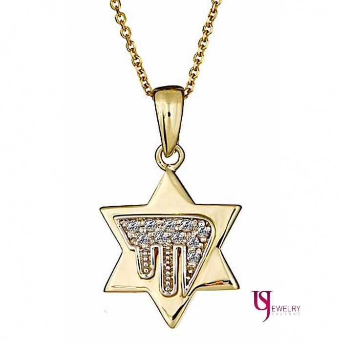 Diamond jewish chai in star of david pendant necklace 16 14k yellow diamond jewish chai in star of david pendant necklace 16 14k yellow gold mozeypictures Gallery