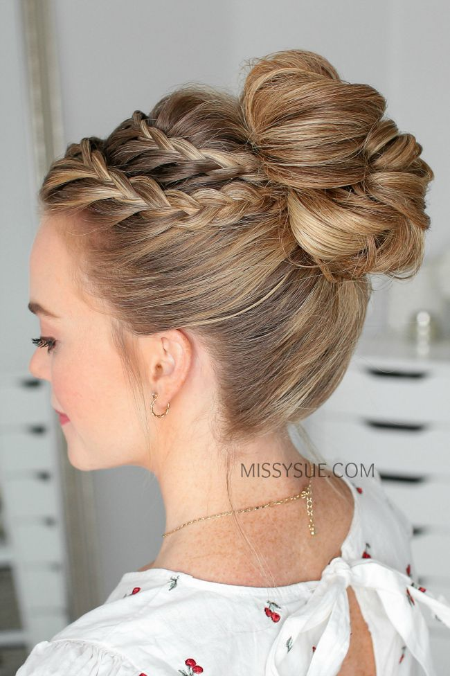 double lace braid high bun hair