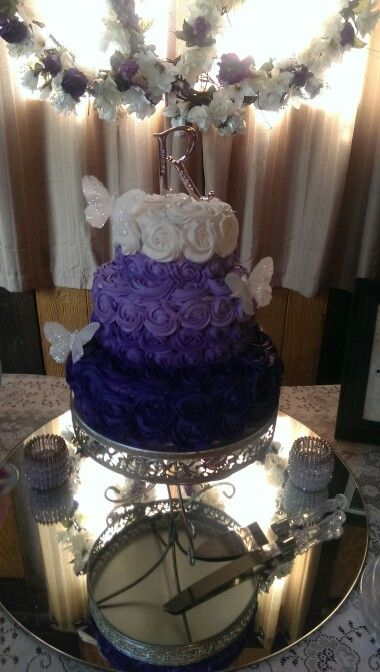 Purple Ombre Rosette Wedding Cake