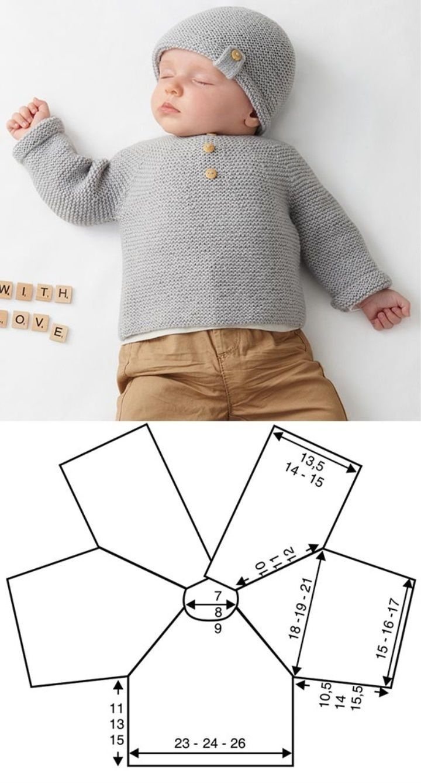 Photo of Grauer Pullover mit Zierknöpfen #newborn #babykleidung #häkeln #stricken … -…