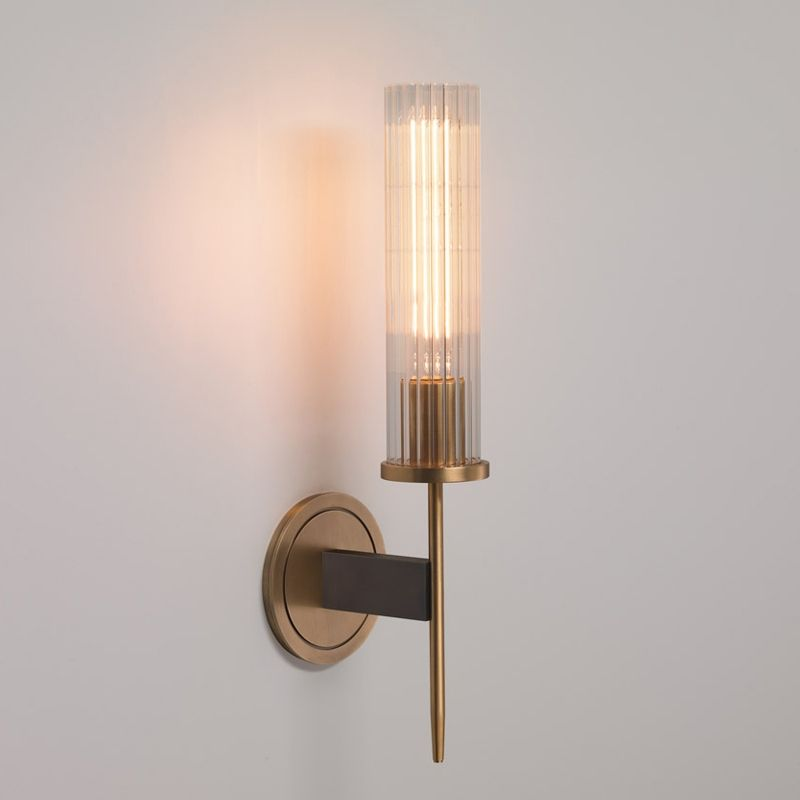 Modern Minimalist 1 Light Cylinder Clear Ribbed Glass Shade Wall Sconces In Gold Black In 2020 Indoor Wall Lights Wall Sconces Living Room Wall Lights Living Room