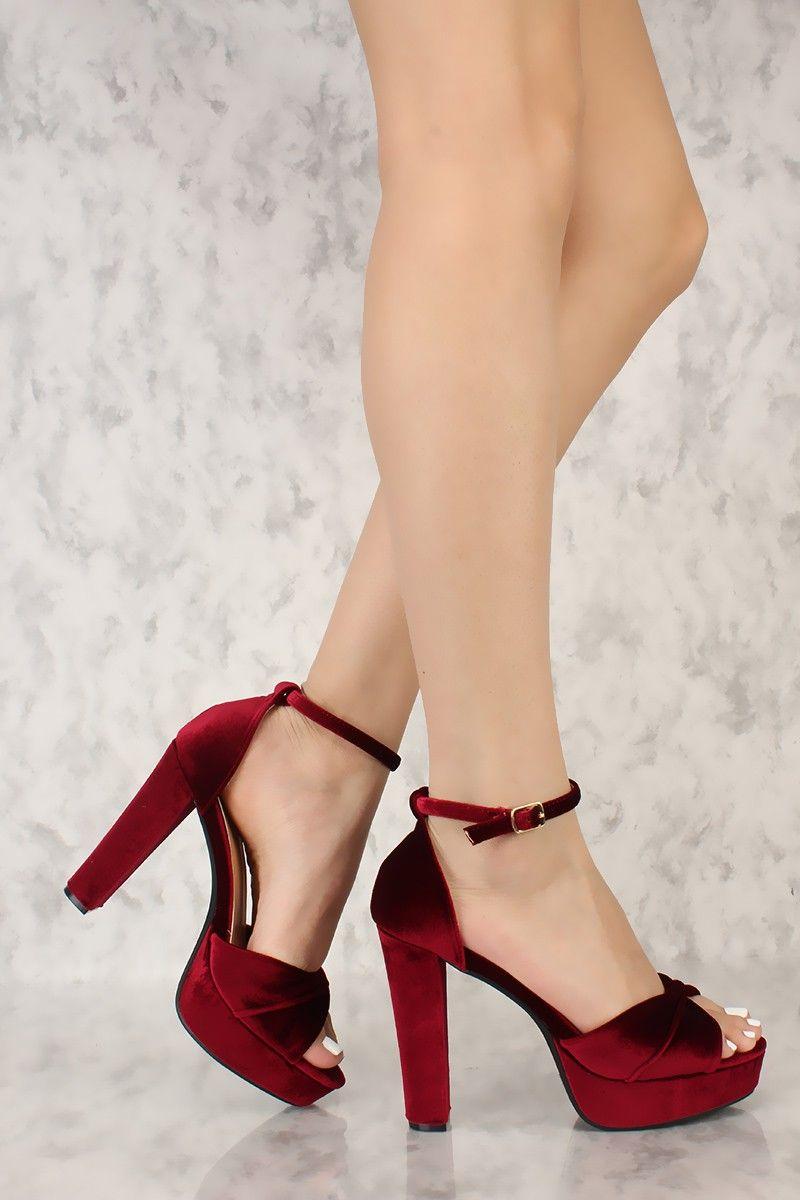 656ceea58fc Wine Twist Open Toe Strap Platform Pump Chunky High Heels Faux ...