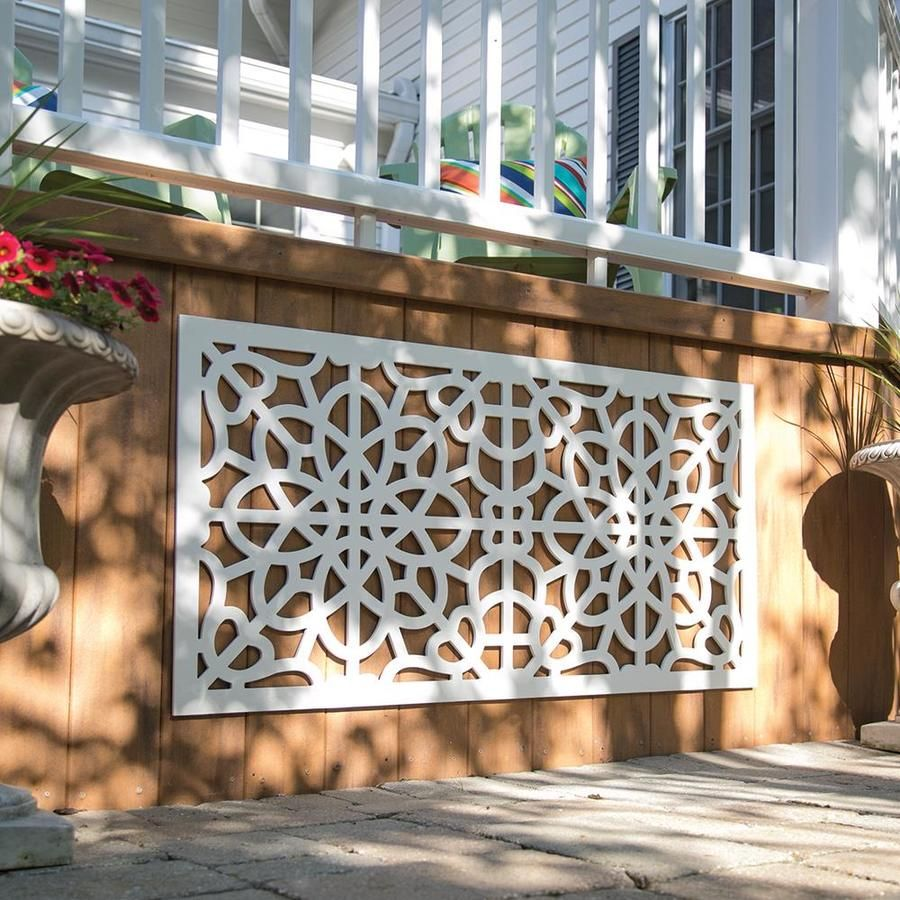 Freedom Common 24 In X 4 Ft Actual 0 3 In X 23 875 In X 3 989 Ft Fretwork White Vinyl Decorative Screen Decorative Screen Panels Decorative Screens Decor