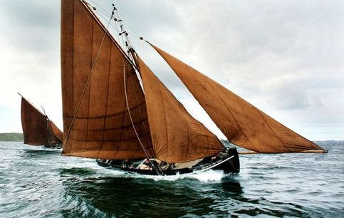 brown sails on the Irish boat, a Galway Hooker