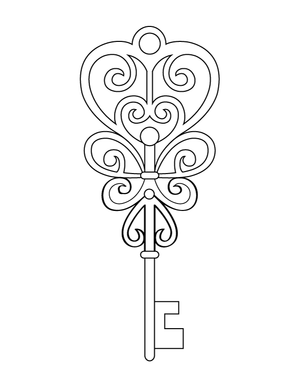 Printable Heart Key Coloring Page Heart Printable Coloring Pages Heart And Key