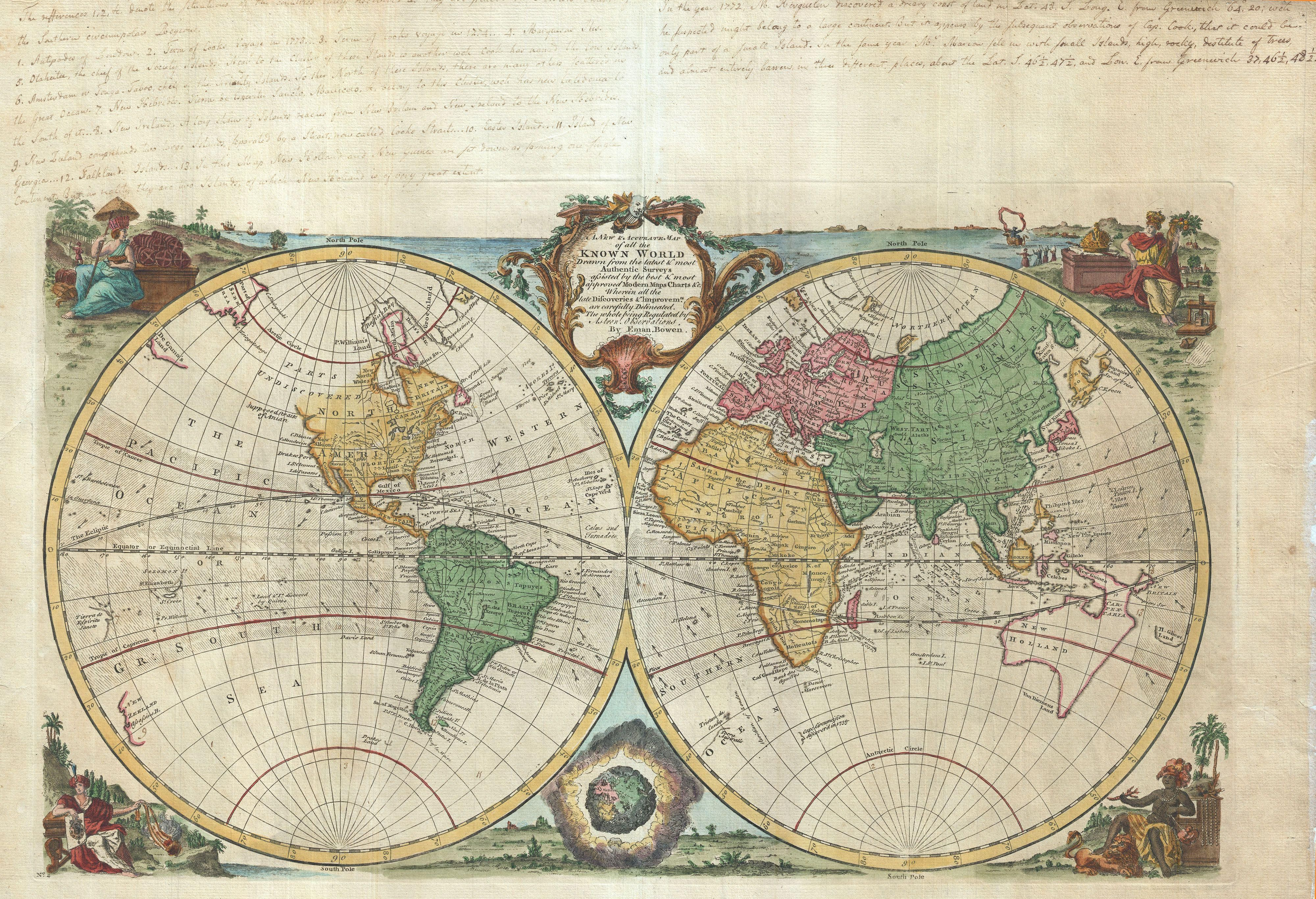 1744 Bowen Map of the World in