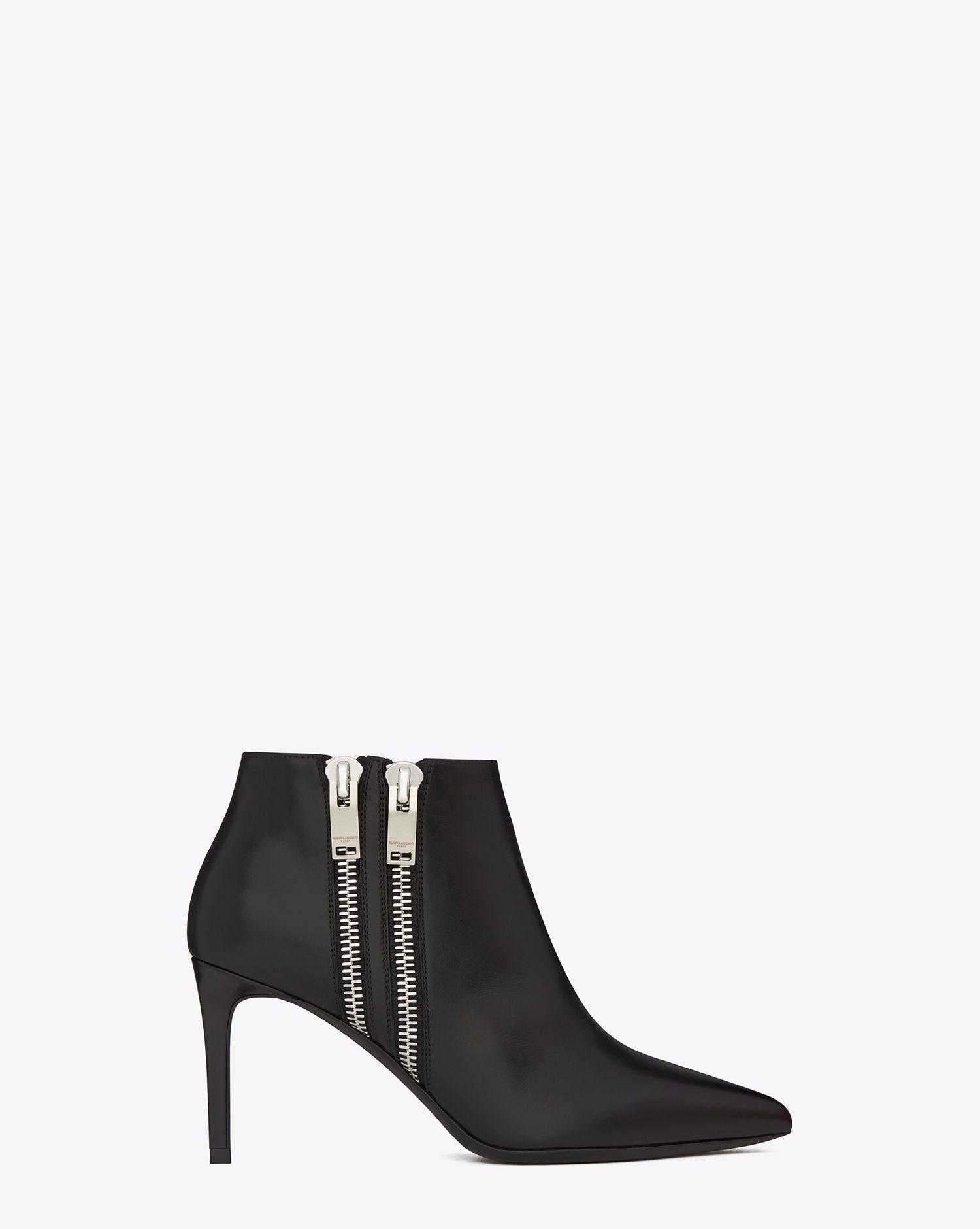 0aa07817 Saint Laurent Classic Paris 80 Double Zip Ankle Boot In Black ...