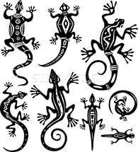 Decorative lizards.