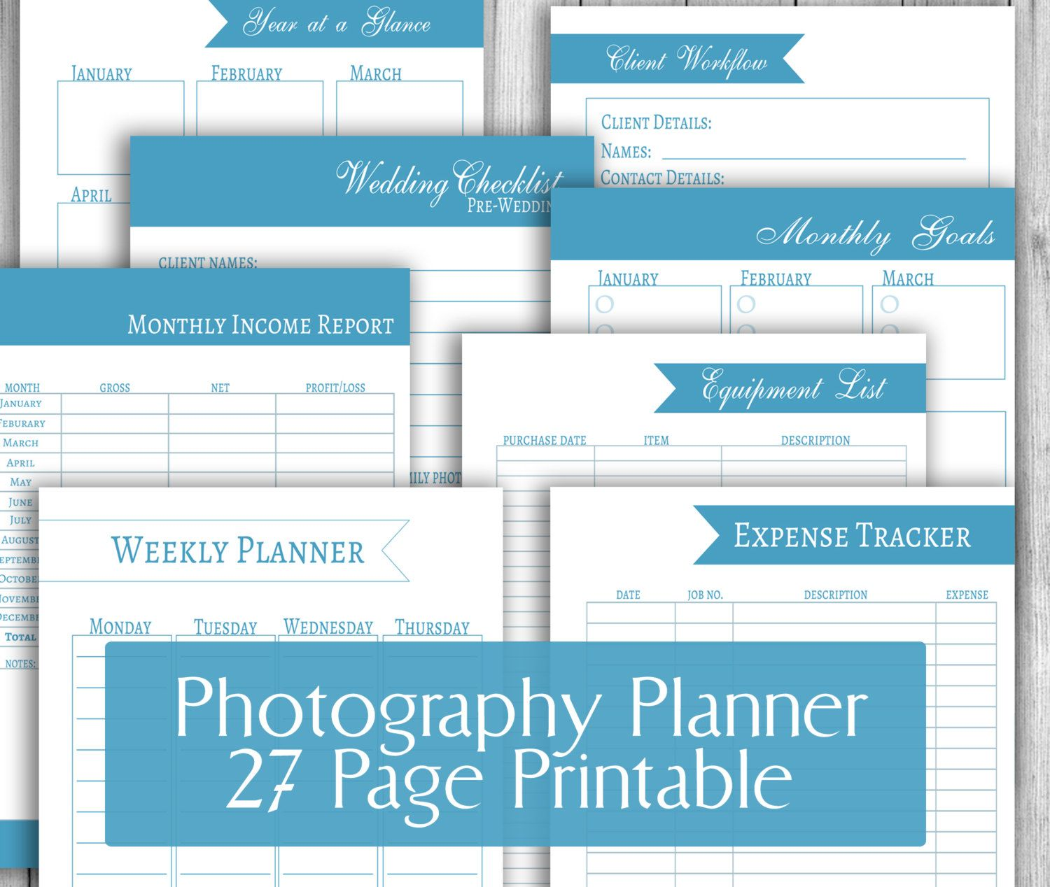 Photographers Planner Printable Organizer Portrait Diary Instant Download Pdf Printables 27 Page Planners Wedding Photographer By PixelsandPine