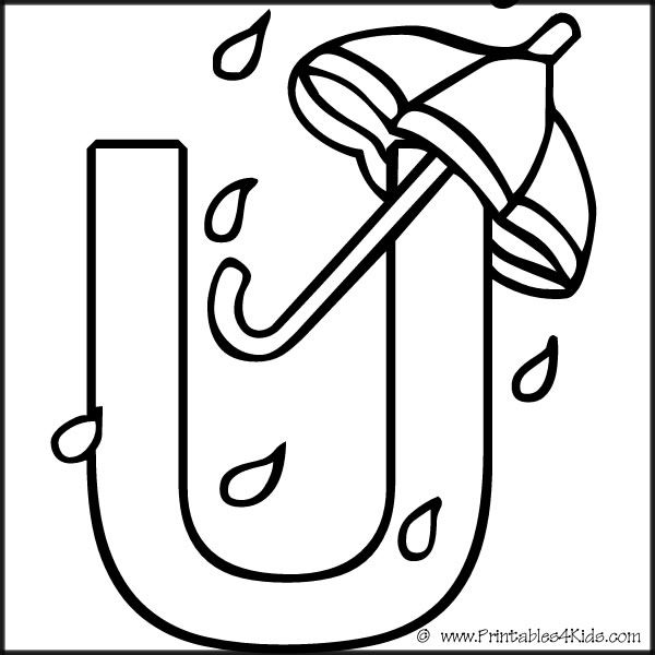 Alphabet Coloring Page Letter U Umbrella Printables For Kids
