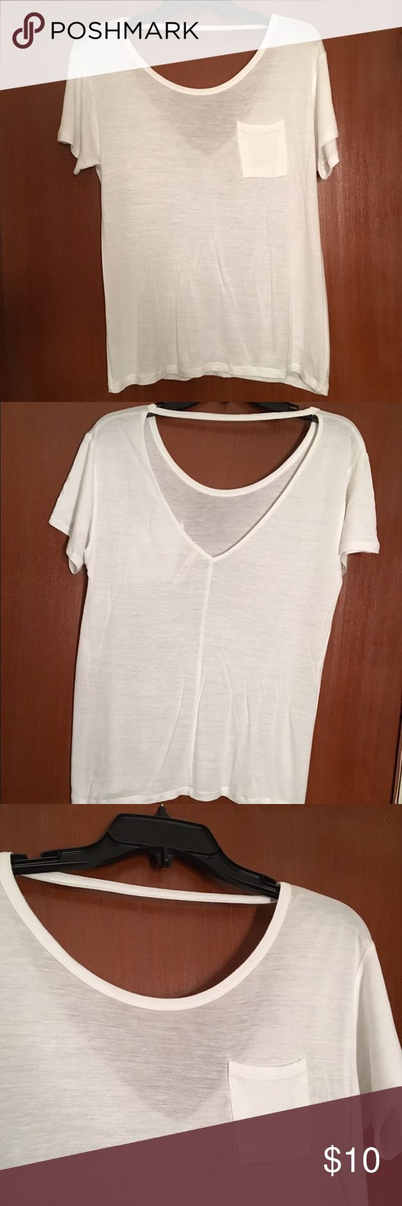 White T with deep V back Very versatile lightweight white t-shirt with scoop neck and deep v in back. Only worn once. Pair with your favorite strappy sports bra or bandeau, or dress it up under a jacket or sweater. Tops Tees - Short Sleeve