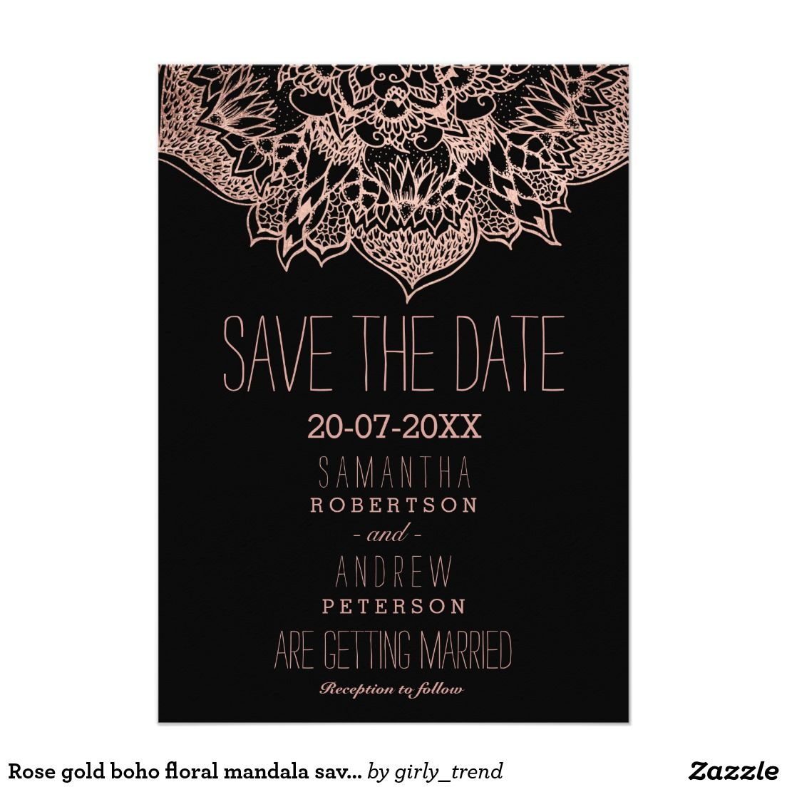 Gold color cardstock paper 5x7 - Rose Gold Boho Floral Mandala Save The Date 5x7 Paper Invitation Card