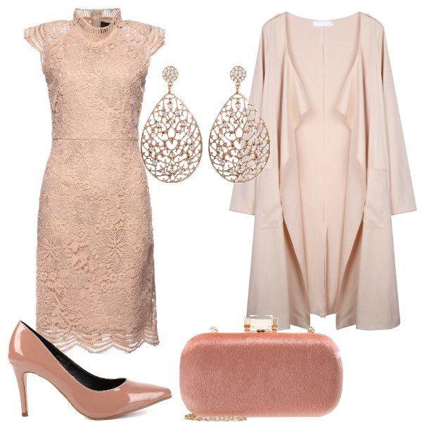 sale retailer 65cd6 eb94d Outfit composto da abito in pizzo rosa carne, con collo alla ...