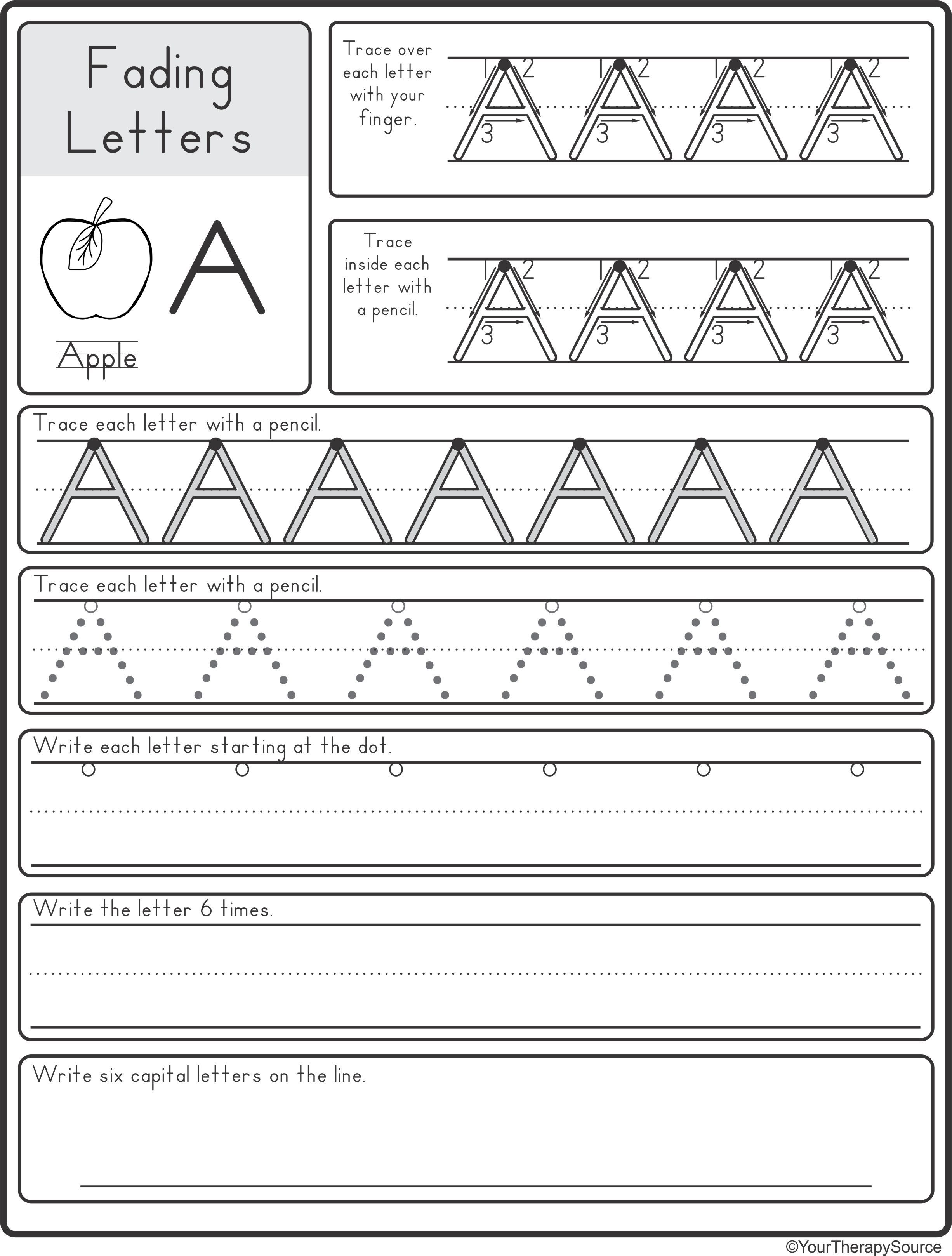 Dotted Line Letters Worksheet