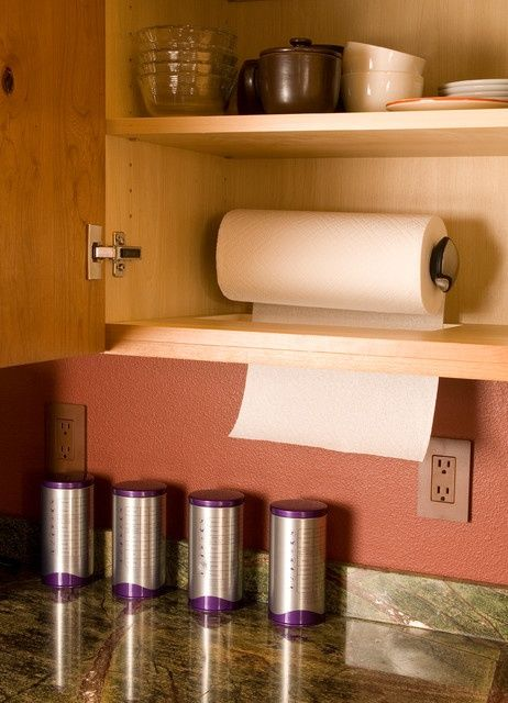 Hidden Paper Towel Holder Space Saving Kitchen Kitchen Organization Kitchen Storage