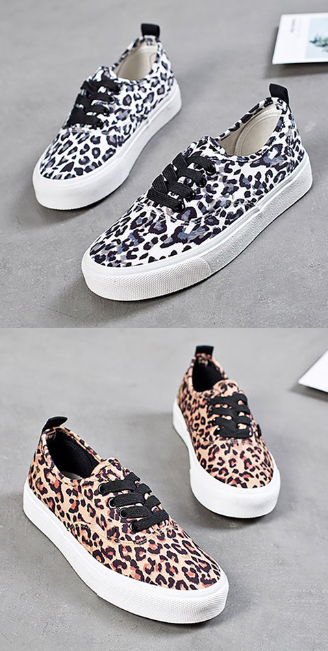 52b69085cbd2  36.99 USD Sale! Free Shipping! Shop Now! Women Casual Canvas Sneakers  Leopard print Slip-on Shoes