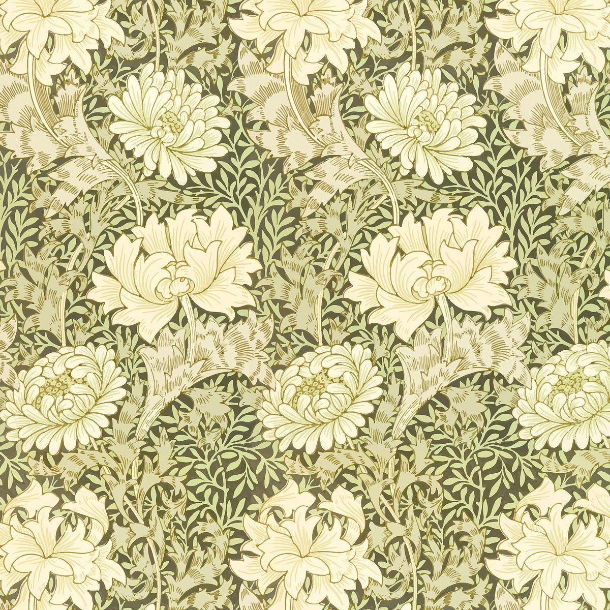 Download Premium Vector Of Vintage Chrysanthemum Flower Pattern Vector In 2020 William Morris Chrysanthemum Flower Free Illustrations