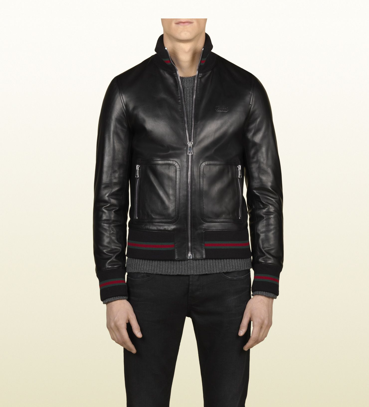 374f13835 Gucci black leather bomber jacket | STYLE in 2019 | Black leather ...