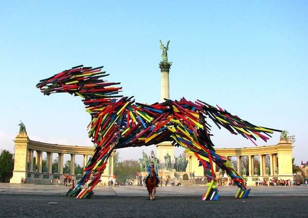 Animalistic Wooden Slat Sculptures Recycled Art Modern Art