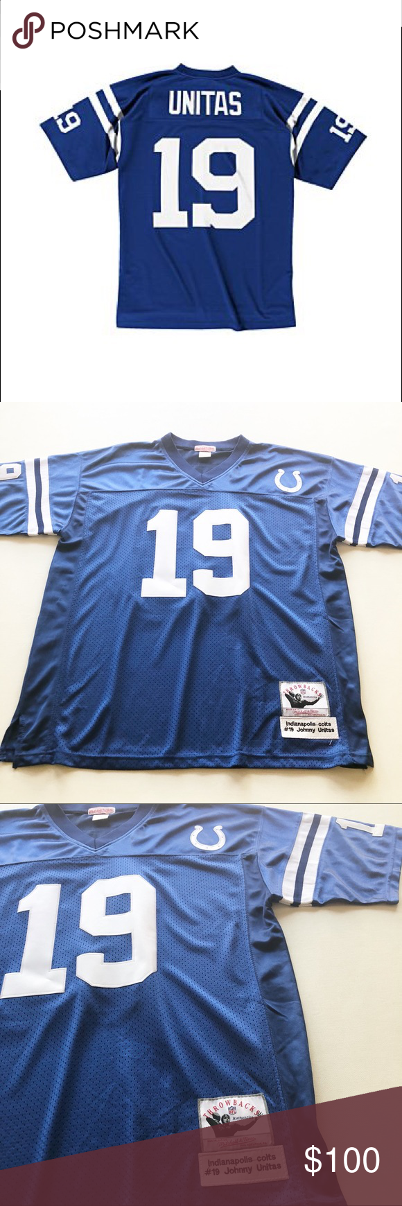 finest selection 386cd 87726 Johnny Unitas #19 Colts Football Jersey Men's Mitchell ...