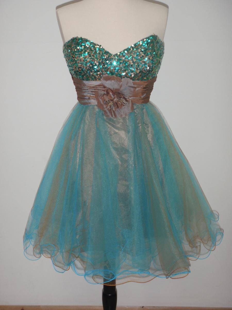 Sexy Short Prom Dress Turquoise & Copper Size Large NWT | eBay ...