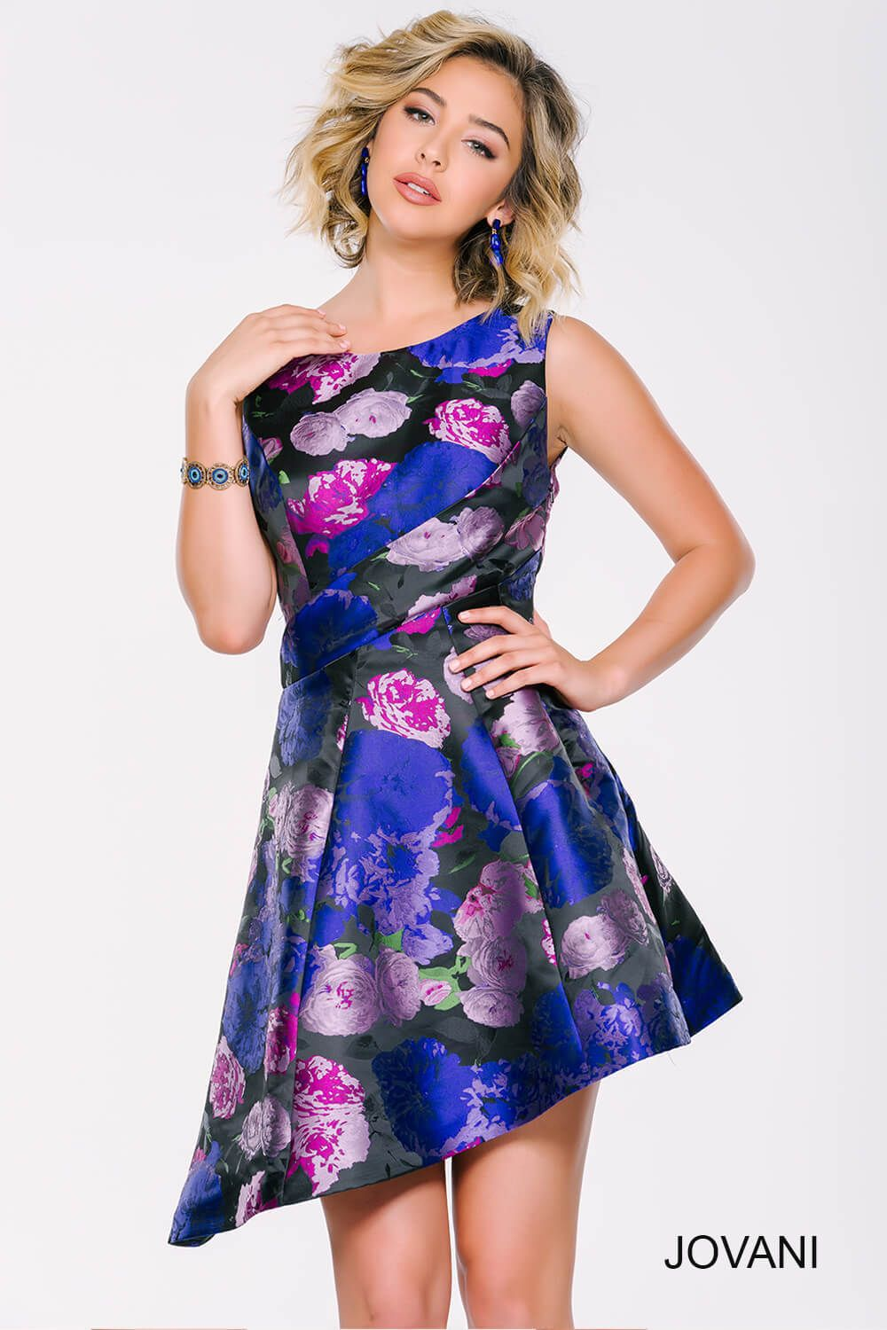 Looking for a trendy prom dress? #jovani 43078 asymmetrical floral ...