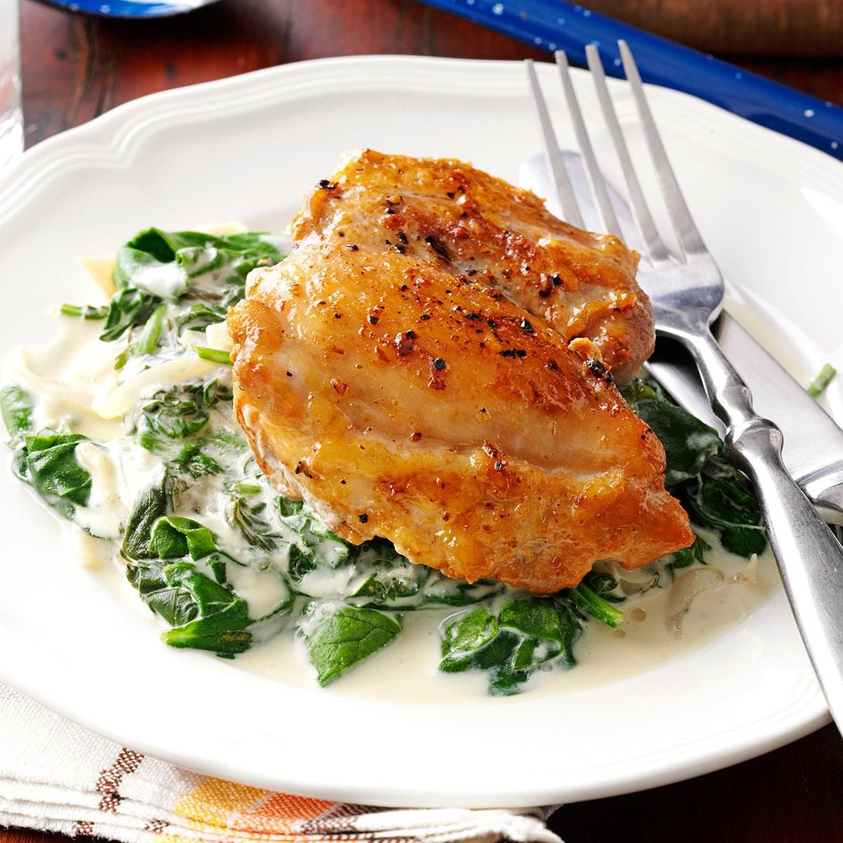 Chicken Thighs With Shallots Spinach Recipe Recipes Chicken Recipes Chicken Thighs