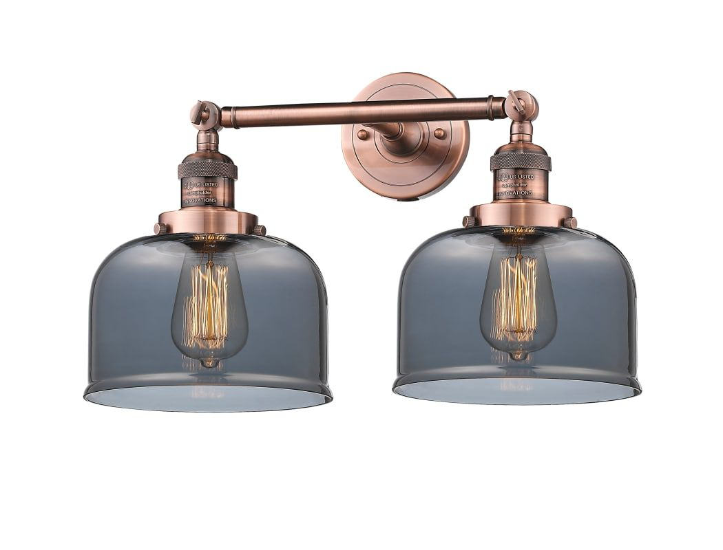 Photo of Innovations Lighting 208-AC-G73 Antique Copper / Smoked Large Bell 2 Light 19″ Wide Bathroom Vanity Light with Multiple Shade Options