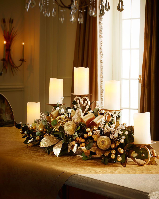 Golden Candlerail Christmas Home Christmas Centerpieces