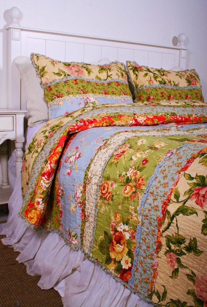 Queen Quilt Garden Dream Rag Ruffled Cotton Cottage Chic Cf
