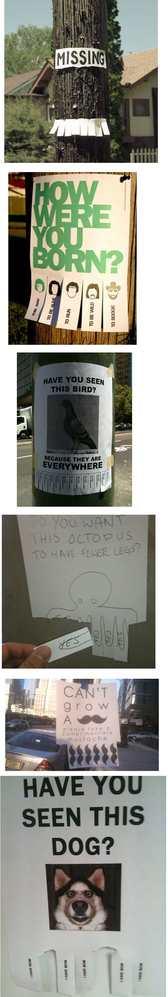 Funny paper strip signs that think outside the box.