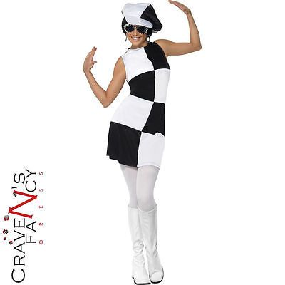 WHITE GO GO GIRL HAT LADIES 60S PARTY FANCY DRESS COSTUME ACCESSORY WOMENS HIPPY