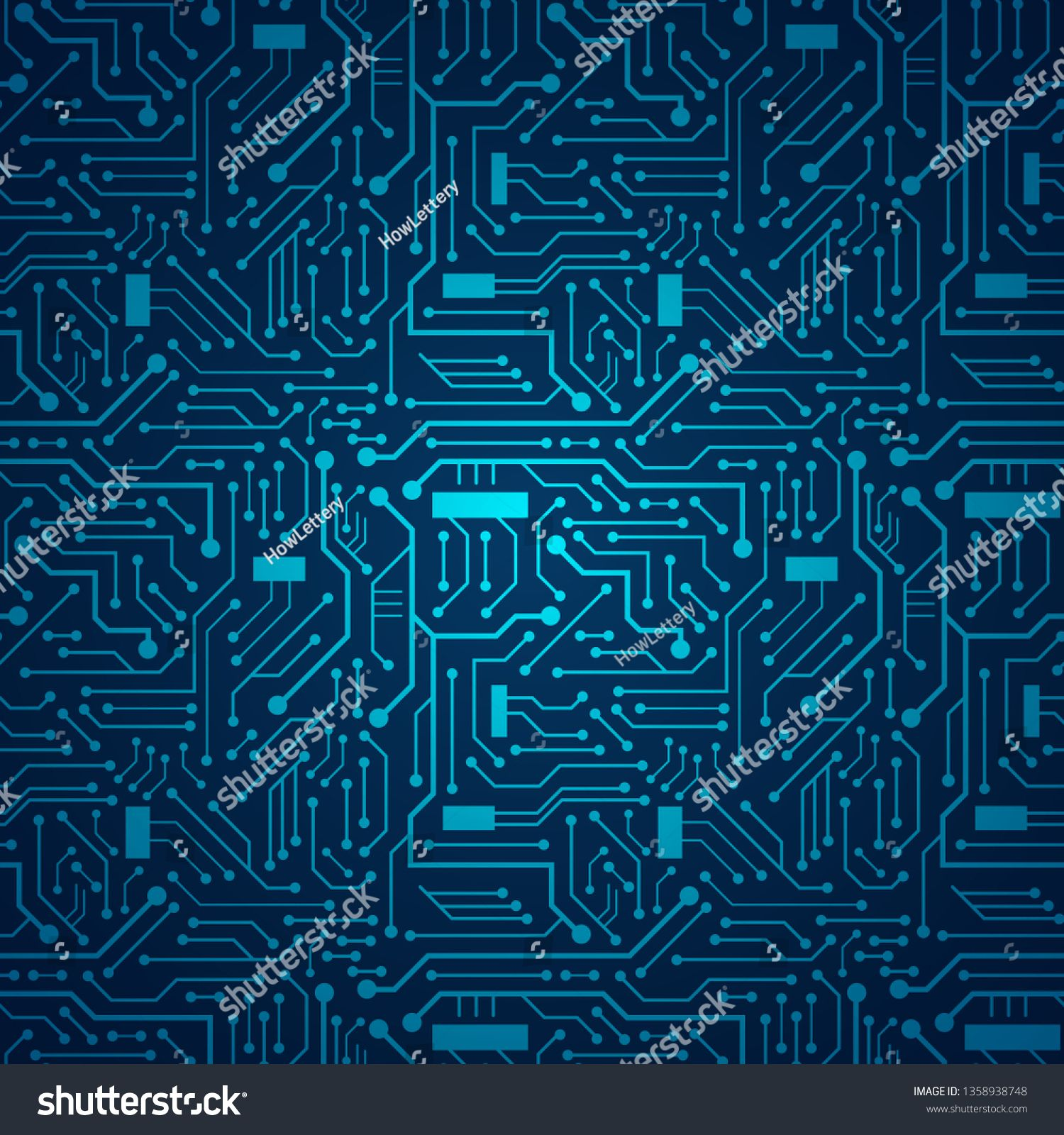 Blue circuit board background sponsored ad circuit