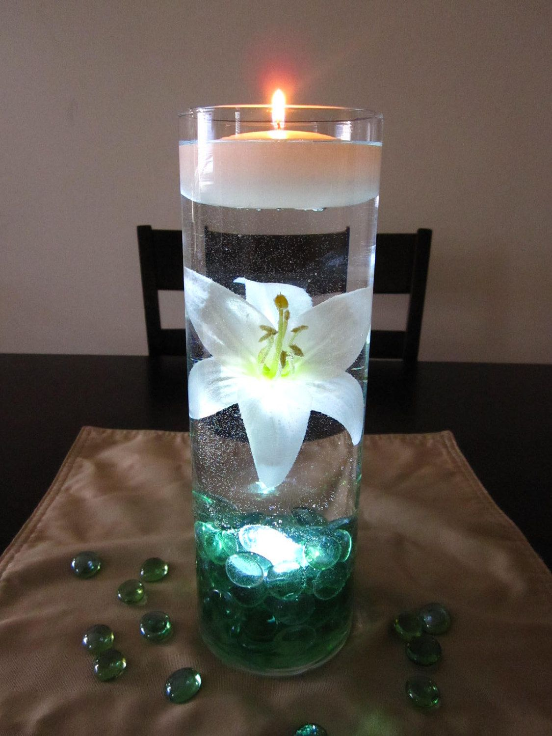 White Lily Centerpiece Kit With Sea Green Marbles And LED Light
