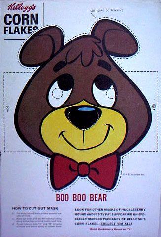 Cut-out masks on the back of Kellogg's Corn Flakes || Boo-Boo Bear :-)