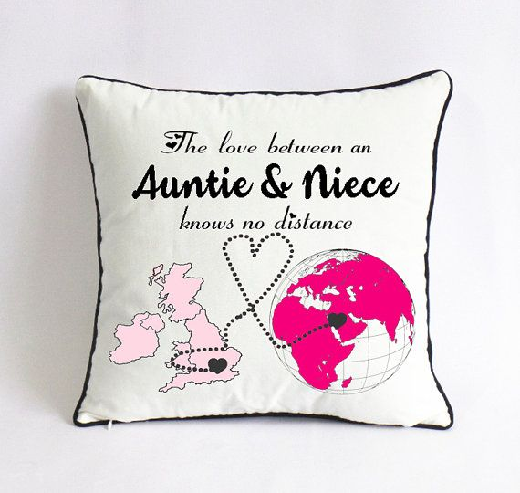 Custom Auntie Niece Pillow Uk World Map Gift Aunt Mothers Day Etsy Niece Quotes Birthday Quotes For Aunt Baby Love Quotes