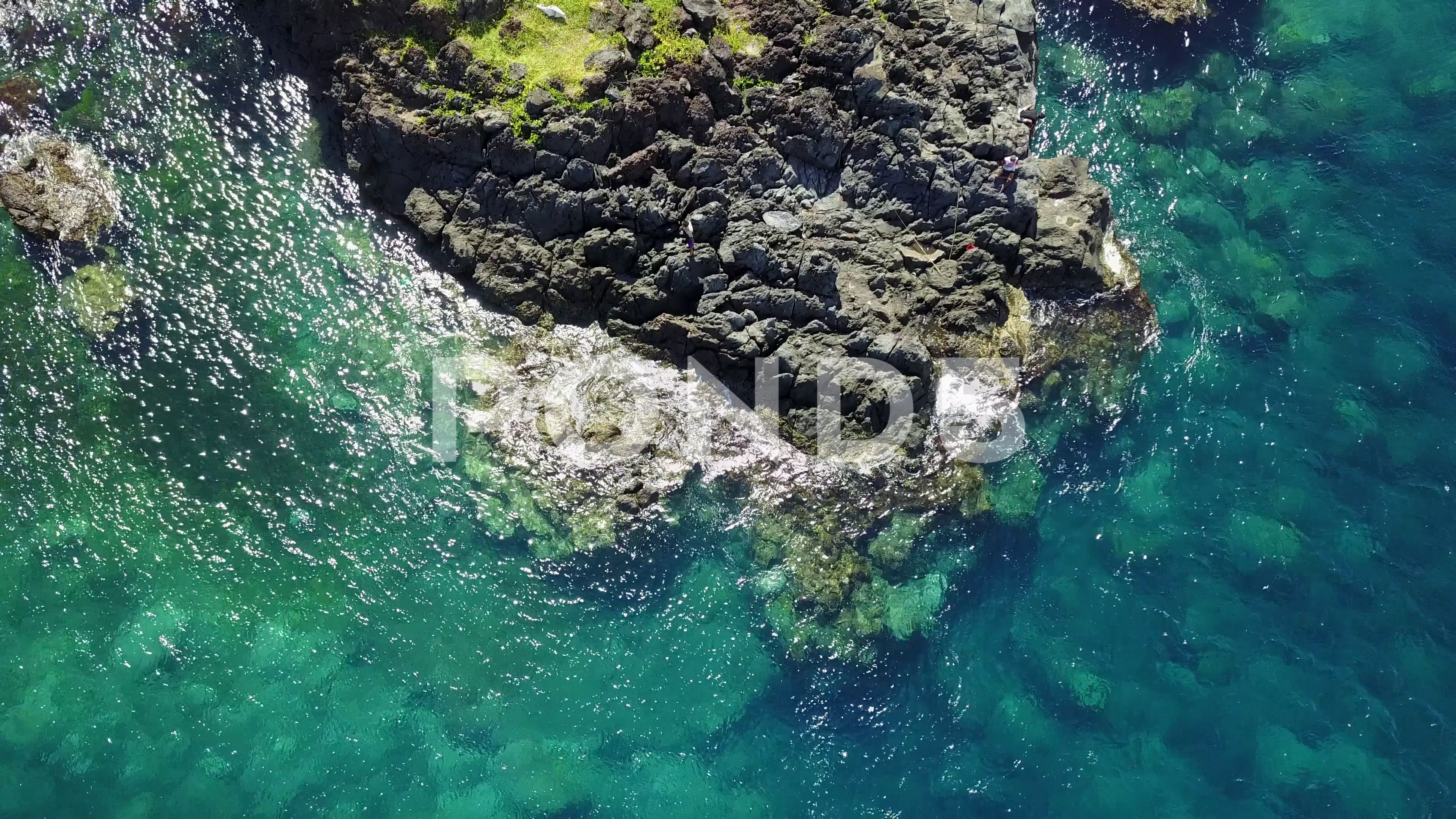 Ocean and Stones  Wide and Close View  Bali 2 Stock Footage WideCloseOceanStones