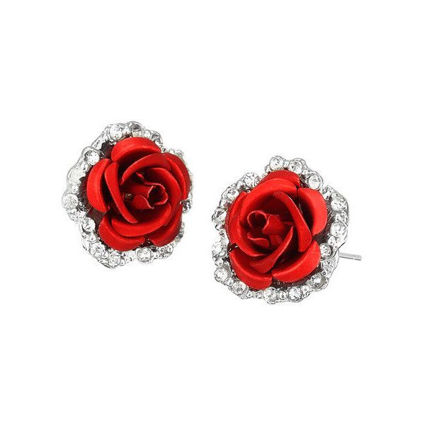 Rose Flower Inlay Rhinestone Stud Earrings 26 Gtq Liked On Polyvore Featuring Jewelry Earrings Flower Rose Stud Earrings Rhinestone Studs Blossom Jewelry