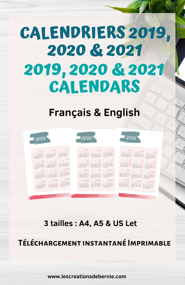 Calendrier 2019 Et 2021 Pdf Gift for her 2019, 2020 & 2021 calendar bundle 2020 digital