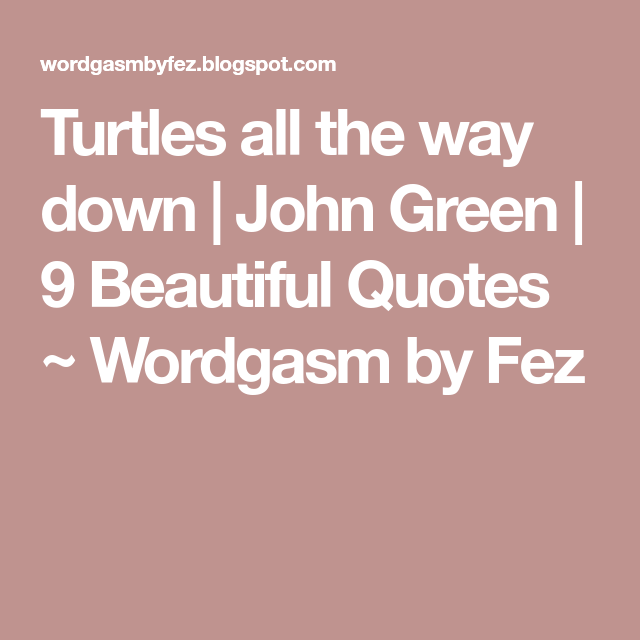 Turtles all the way down | John Green | 9 Beautiful Quotes ...