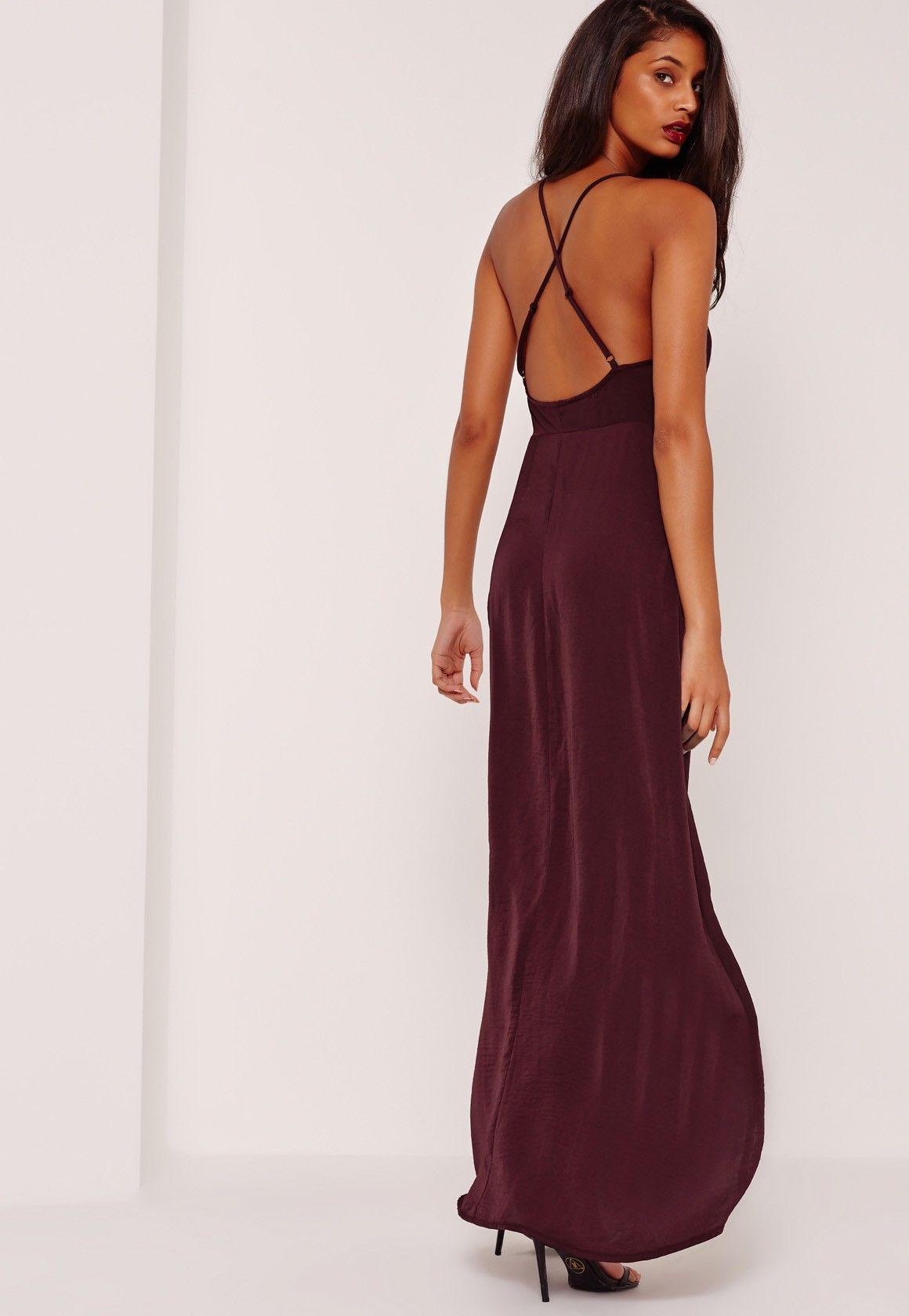 Missguided Sarah Ashcroft Silky Strappy Maxi Dress Purple [ 1680 x 1160 Pixel ]