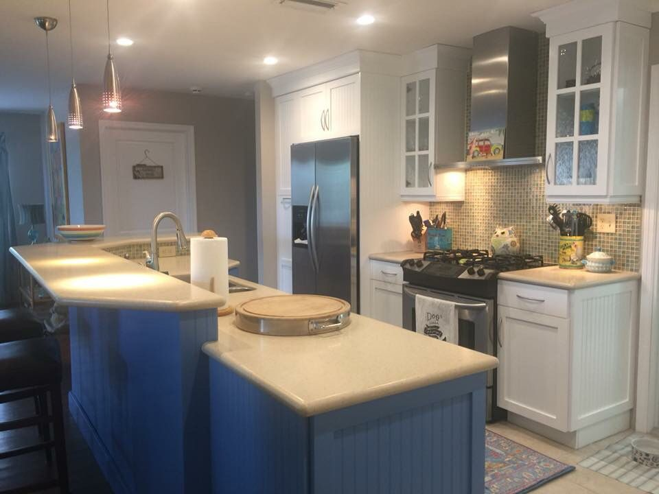 Big kitchen island offers lots of counter space kitchen