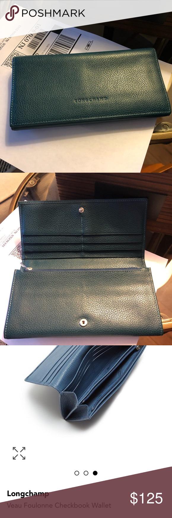 Mint Longchamp Teal Veau Foulonne Checkbook Wallet | Checkbook ...