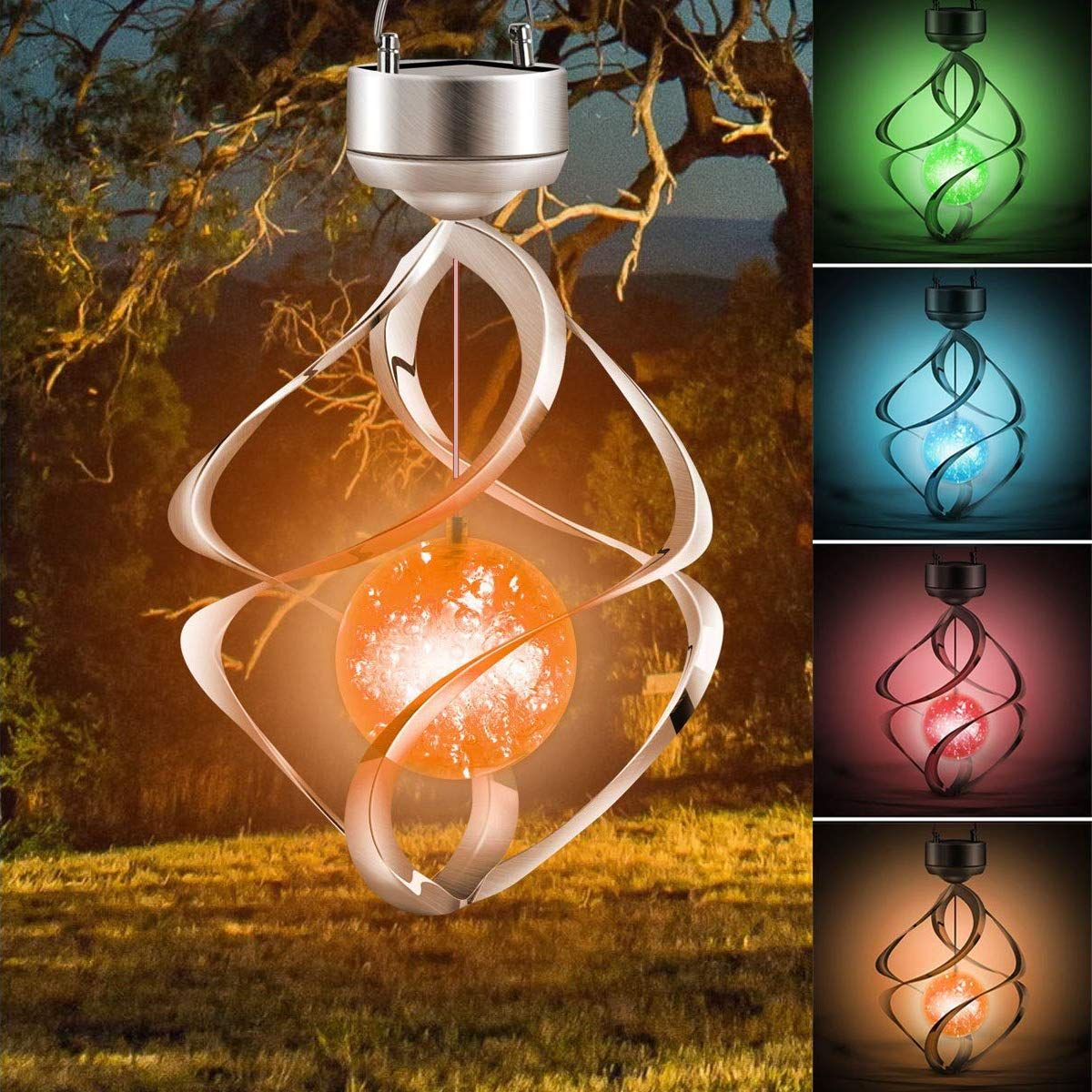 Amwgimi Hanging Solar Lights Outdoor Wind Chimes Lights Led Colour