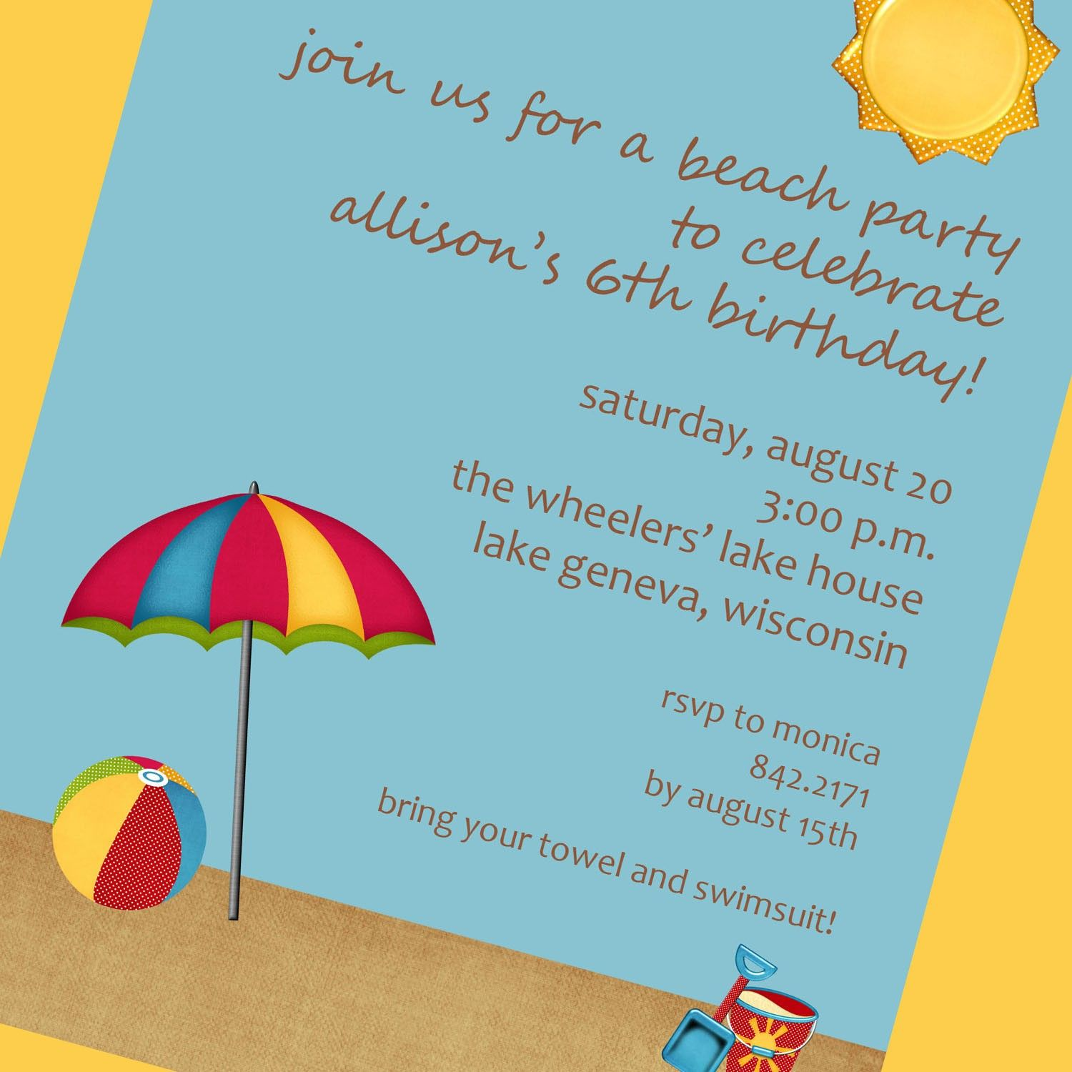 Beach Party Invitation Download and cute beach party invitations ...