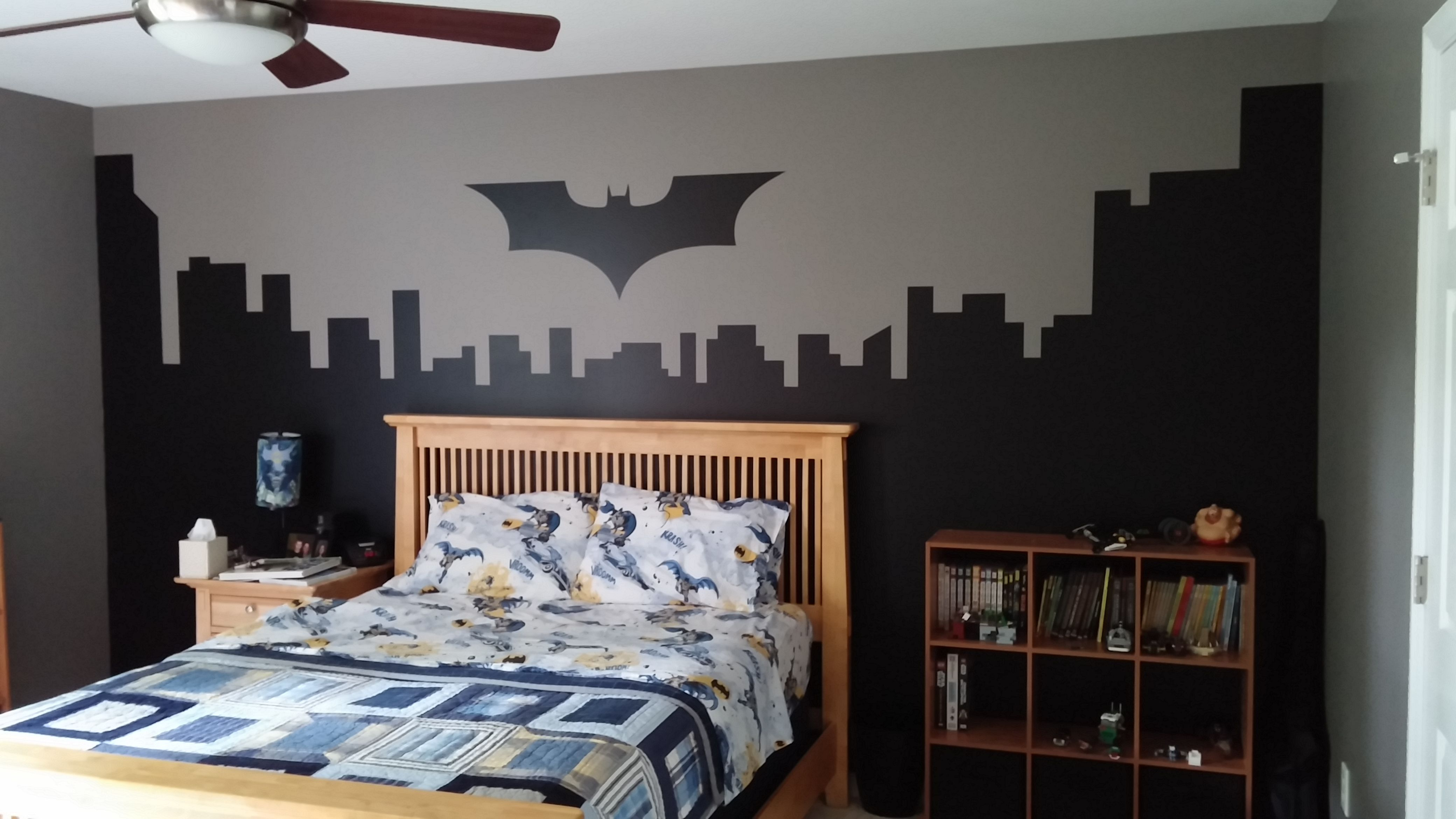 Finished batman logo and gotham city accent wall nicks finished batman logo and gotham city accent wall amipublicfo Gallery