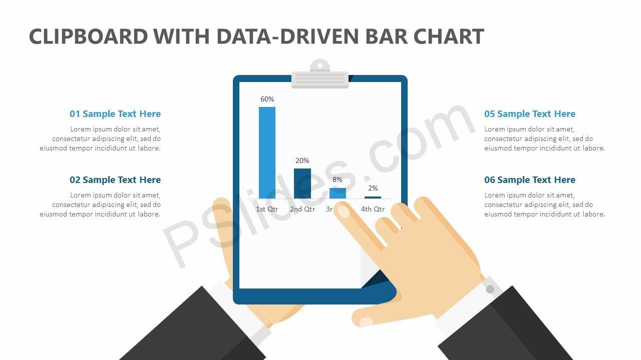 Clipboard with DataDriven PPT Bar Chart