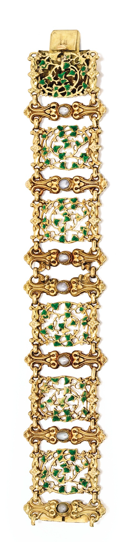 GOLD, SPLIT PEARL AND ENAMEL BRACELET The six-panel bracelet decorated with meandering ivy vines highlighted with green enamel, spaced by scrollwork motifs set with seven split pearls, length 6¾ inches, with French import mark; circa 1850.