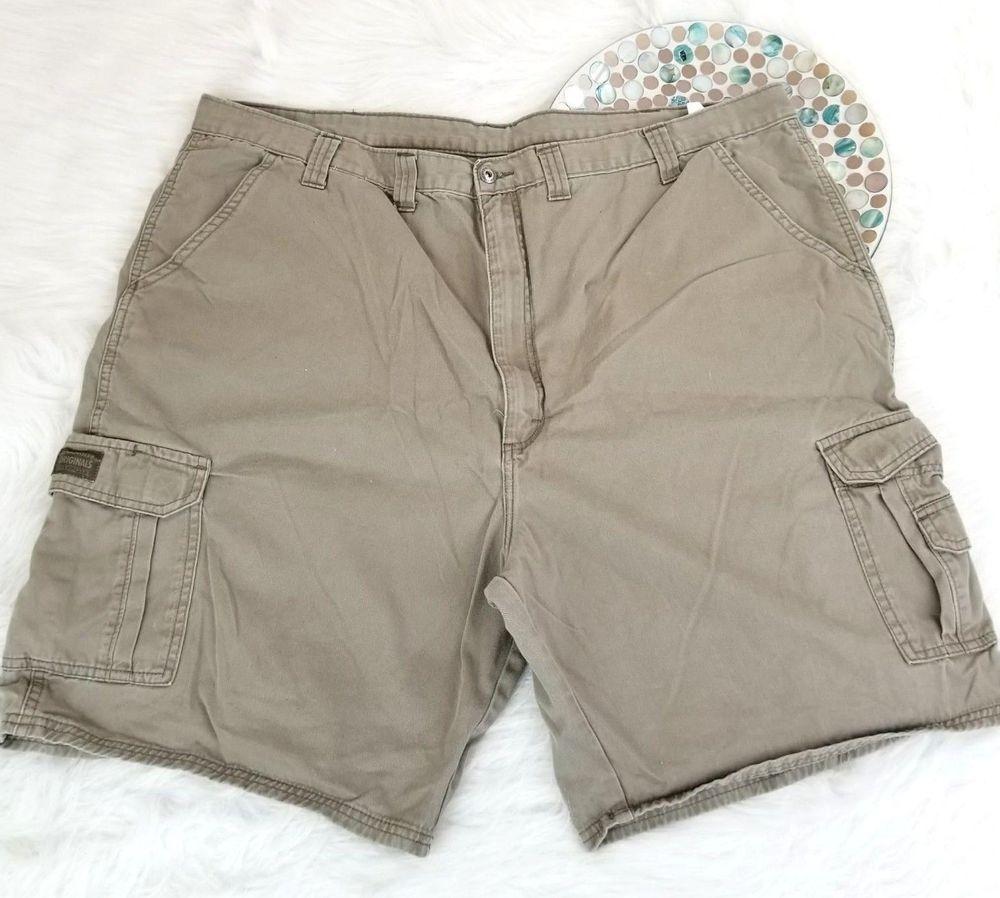 ee38f14dda Wrangler Mens Cargo Shorts Size 46 Big Beige Khaki Flat Front Casual o295
