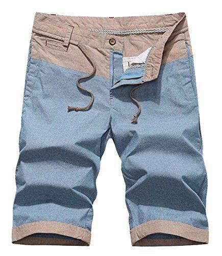 Generic Mens Fashion Color Blocked Cotton FlatFront Casual Short Light Blue 31 *** Click the VISIT button to enter the Amazon website